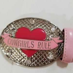 Girls Cowgirls Rule leather belt